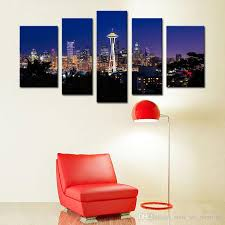 5 picture combination seattle night city canvas print seattle city panorama city view art print black and white seattle canvas landscape paintings paintings