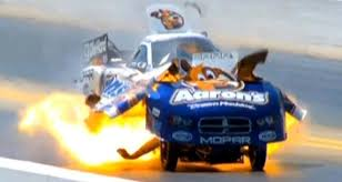 professional drag car racer s car explodes at full speed with him
