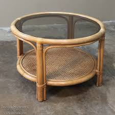 mid century rattan coffee table with