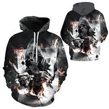 <b>NEW 3D</b> Hoodies Men Hooded Sweatshirts <b>Skull Poker 3D</b> Print ...