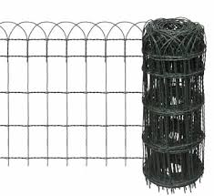 white wire garden fence. A Roll Of Tall Black PVC Coated Garden Border Fence With Unfolded Part Has Five Horizontal White Wire S