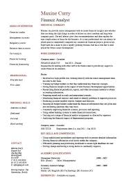 Finance analyst resume, analysis, sample, example, modelling .
