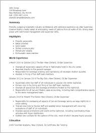 Resume Templates: Bar Supervisor