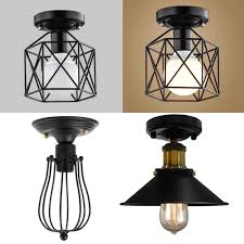 details about industrial vintage metal cage pendant lamp semi flush mount ceiling light shade