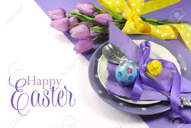Happy Easter Yellow And Purple Mauve Lilac Theme Easter Table