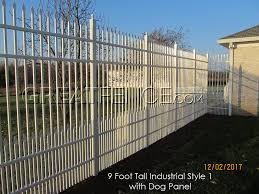 white industrial fence with dog panel