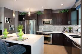 Green And Grey Kitchen Dark Brown Kitchen Cabinets With Gray Walls Monsterlune
