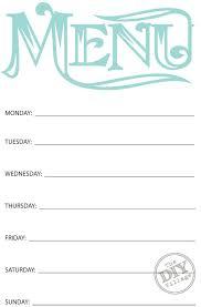 Free Printable Weekly Menu Planner Share Your Craft Menu
