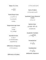 Algebra Formula Worksheets Teaching Resources Tpt