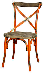 distressed metal furniture. Perfect Metal Natalie Metal Chair Distressed Orange Farmhouse Inside Furniture A