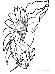 Pegasus Color Page Coloring Pages For Kids Fantasy Medieval