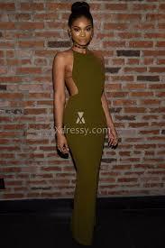 Chanel Iman Olive Sheath Celebrity Evening Dress Img Models Party