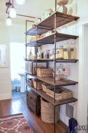 Open Pantry With Pipe Shelving #bloggerstylinhometours Pipe Shelving,  Pantry Shelving, Industrial Shelving Kitchen