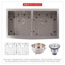 Dax Farmhouse 5050 Double Bowl Kitchen Sink 16 Gauge Stainless Steel