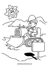 Kleurplaat Bulldozer Graafmachine Beroepen