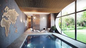 delightful designs ideas indoor pool. Small Indoor Swimming Pool Layout With Unique Wall Art And Modern Interior Delightful Designs Ideas L