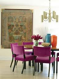 magenta velvet chairs and big ethnic art yes dining room orchid purple dining chairs and violets
