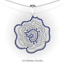 classic 14k white gold blue sapphire diamond rose promise pendant and necklace chain p101m 14kwgdbs