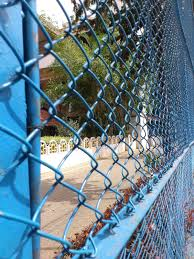 image of chain link fence paint blue