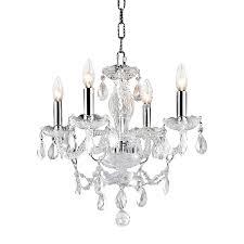 elegant lighting princeton 17 in 4 light chrome crystal crystal candle chandelier
