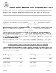 Radon Gas Disclosure Michigan Residential Lease Application