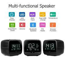 multi features 3 5 lcd digital bluetooth speaker dual alarm clock fm radio with sleep timer snooze