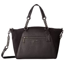 Shop COACH Mixed Leather Chain Prairie Black Satchel Handbag - Free  Shipping Today - Overstock.com - 19205464