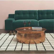 hammered coffee table hammered rose gold finish coffee table hammered silver round coffee table