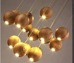 solid wood chandelier modern creative minimalist living room dining three single head wooden lamp in pendant