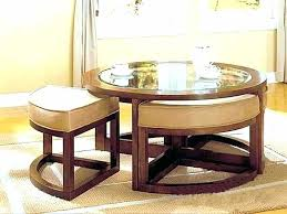 coffee table with nested ottomans seats underneath outstanding nesting chair storage