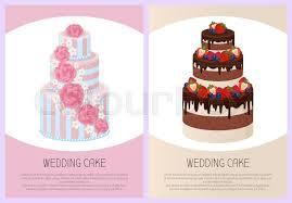Wedding Cakes Collection Sweet Bakery Stock Vector Colourbox