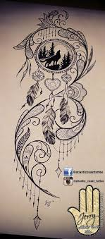 Dream Catcher Tattoo On Thigh Beautiful tattoo idea design for a thigh dream catcher tattoo 54