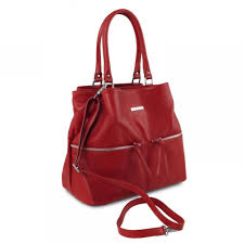 tuscany leather tlbag leather shoulder bag with front pockets red tl141722 4