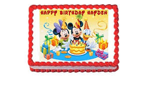 Amazoncom Mickey Mouse Birthday Party Edible Cake Image Cake