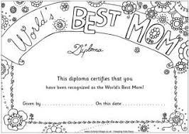 Worlds Best Mom Coloring Diploma There Are Also Pages For Dad