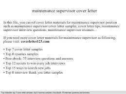 Maintenance Supervisor Sample Resume Maintenance Supervisor Resume ...