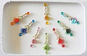 8 pure crystal swarovski long designer multicolored rhinestone bellydance indian headpiece festival face jewels by portlook