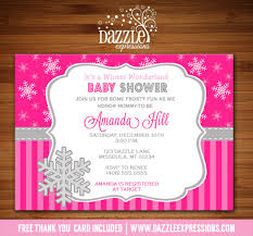 Snowflake Baby Shower Invitations Printable Pink Winter Snowflake Baby Shower Invitation Baby Girl