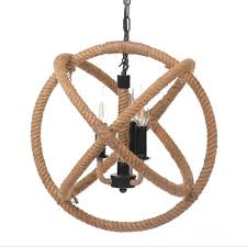 nautical 18 inch jute rope globe chandelier