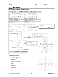 reteach 10 5 parabolas advanced algebra overview pages 1 4 text version anyflip
