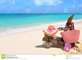 Flip Flop Chair Beach Chair And Bag With Flip Flops By The Ocean Stock Photo