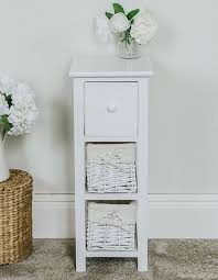 tall slim bedside table white