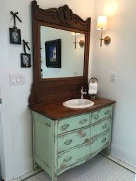 bathroom vanity from antique dresser we find re convert paint and distress