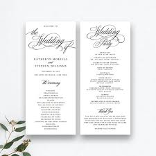 Printable Wedding Program Templates Classic Elegant Wedding Programs Template Wedding Ceremony Etsy