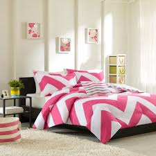 mi zone libra comforter set pink and white chevron bedding set