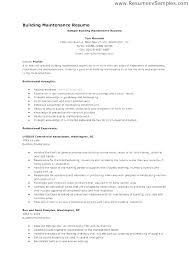 Sample Building Maintenance Resume Maintenance Resume Samples Cool Maintenance Supervisor Resume