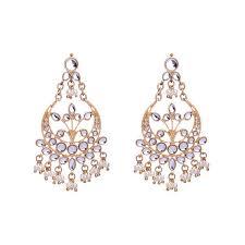 c15642 crystal pearl statement chandelier earrings
