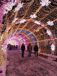 Christmas Lights In Sunrise Florida Light Tunnel New Year Street Decoration In Moscow Russia