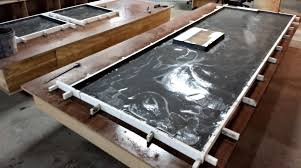 construction of a large concrete countertop flat forms