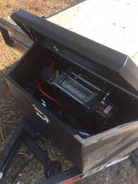 echo trailers extra large tongue box and five gallon gas can rack winch in trailer tool box